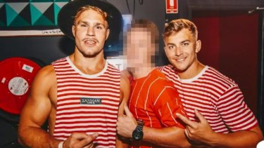 Jack De Belin and Callan Sinclair on a pre-Christmas pub crawl in Wollongong.