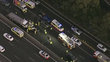 One person has died in an 11-vehicle crash on the M4.