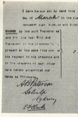 Thomas Clancy's will signed by Banjo Paterson.