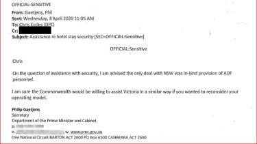 A copy of Phil Gaetjens' email offering ADF support to Victoria.