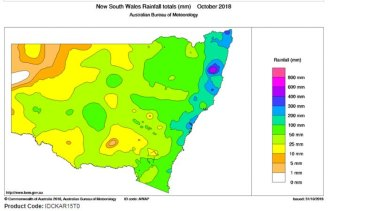 Coastal regions had some heavy falls in October, helping to ease the bushfire threat.