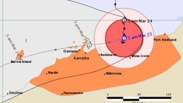 Tropical Cyclone Veronica will track westwards, close to the Pilbara coast. It is currently producing destructive winds and heavy rainfall west of Port Hedland.