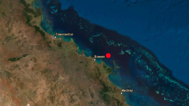 The epicentre of the 4.8 magnitude earthquake off the coast of Bowen.