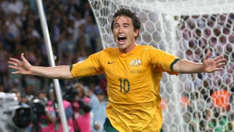 That goal: Harry Kewell celebrates the goal against Croatia that effectively qualified the Socceroos for a date with Italy at the 2006 World Cup.