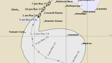 Cyclone Trevor slows to tropical low in inland Northern Territory.