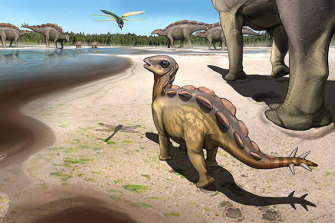 An artist's impression of the baby stegosaur walking across the mudflats of the early Cretaceous.