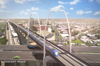 A proposed new rail bridge at Ballarat Road, unveiled by the Victorian and federal governments last month as part of the airport rail project.