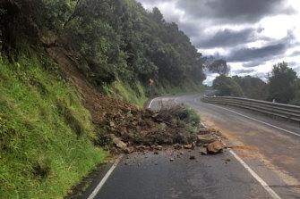 A landslide at Separation Creek on the Great Ocean Road on Thursday.