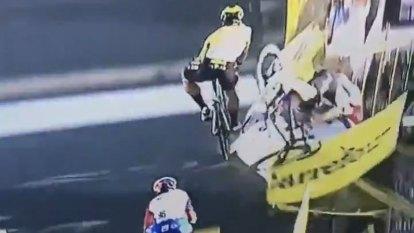 'Dangerous behaviour': Horror crash in sprint to finish leaves rider fighting for life