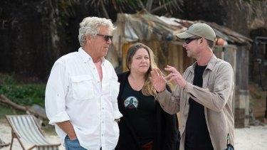 Oscar-nominated visual effects supervisor Matt Sloan (right) with executive producer John Starke and production supervisor Jennifer Teves on the set of the movie Love and Monsters in Queensland.