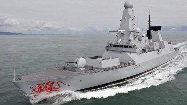 The HMS Dragon passed through waters near Crimea.