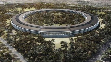 "An architectural drawing of Apple's ""spaceship"" headquarters in Cupertino, California."