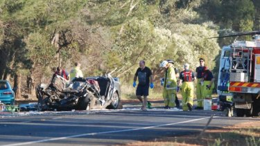 The crash that killed a woman near Waroona yesterday.