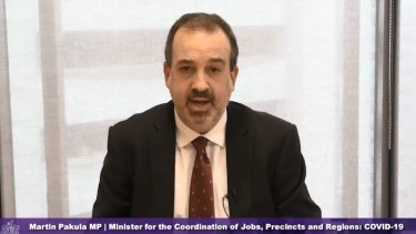 Jobs Minister Martin Pakula gives evidence to the hotel quarantine inquiry on Wednesday.