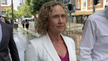 Superintendent Michelle Francis Stenner leaves the Brisbane District Court a free woman on Friday.