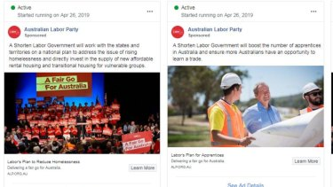 Two ads currently being run on Facebook by the Labor Party.