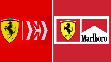 The new Ferrari/Mission Winnow logo compared with the old Ferrari/Marlboro one.