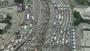 Aerial footage of the protestersapproaching the West Gate Bridge on Monday.