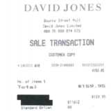 A receipt from David Jones shows an employee bought a Lacoste branded item for $159.95.