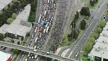 A still from the Nine helicopter of protests in Melbourne on Tuesday.