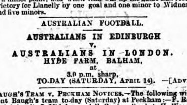 An advertisement for the game, run in the UK's Sporting Life newspaper on the day it was played.