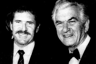 Bob Hawke and Allan Border at the 1989 Ashes Victory Dinner in Melbourne.