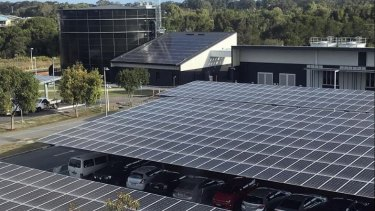 University of the Sunshine Coast solar thermal plant is saving 40 per cent of the university's air conditioning costs. Water is  chilled using energy powered by the solar panels and stored in the circular water 'battery'.