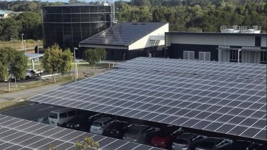 University of the Sunshine Coast solar thermal plant is saving 40 per cent of the university's air conditioning costs.Water is  chilled using energy powered by the solar panels and stored in the circular water 'battery'.