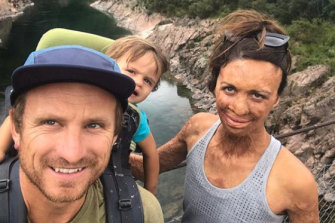 Turia Pitt with husband Michael and their son Hakavai.