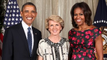 Former WA MP Julie Bishop meets then US President Barack Obama and Michelle Obama at a United Nations General Assembly reception in 2013.