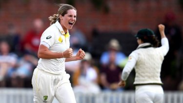 Stealing thunder: Sophie Molineux takes a wicket on day three of the Women's Ashes Test at Taunton on July 20.
