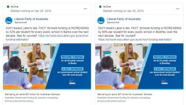 Ads the Liberal Party is running on Facebook.