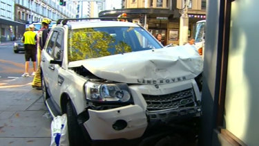 A crash on Goulburn Street and Elizabeth Street saw three people sent to hospital.