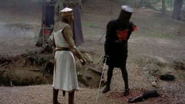 Tis but a scratch: Like NRL premiership contenders, the Black Knight never knew when he was beaten.