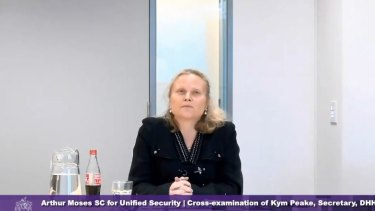 Health Department boss Kym Peake was questioned about why she did not brief her former boss Jenny Mikakos, who quit as health minister on Saturday, on key concerns.