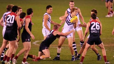 Mayne in the thick of it for Fremantle, as he often finds himself now at Collingwood .