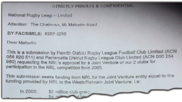 The document obtained by the Herald shows the Eels and Panthers almost became one club for the 2000 season.