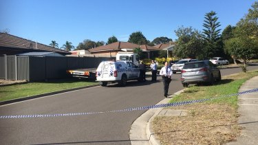 Police at the scene of a shooting in Hampton Park on Tuesday morning.
