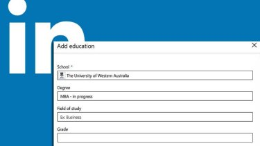 The LinkedIn online resume portal offers free text entry when adding details on education.