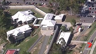 The Brisbane Youth Detention Centre at Wacol as pictured during a standoff between detained youths and staff in 2017.