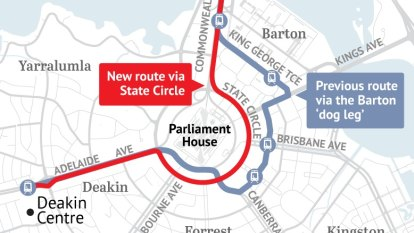 Light rail likely to go east around Parliament House to get to Woden