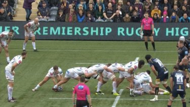 The caterpillar ruck has been taken to extreme lengths in Europe. This was in an Exeter-Worcester clash.