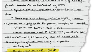 Matt Comyn's hand written note from the banking royal commission with quote (highlighted) he attributes to former chief executive Ian Narev.