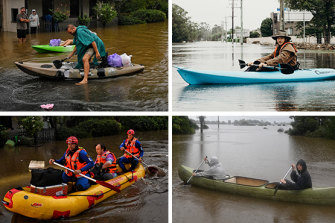 Residents do their best to evacuate flooded areas throughout the Hawkesbury on Monday.