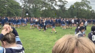 Pictures posted on Facebook showed Castle Hill High students evacuated from their HSC exam on Tuesday.