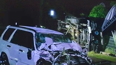 The wreckage of the Toyota Landcruiser (back) and Subaru Forester (front) in Alexandra Hills.
