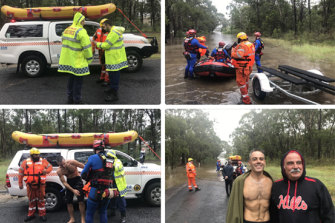 Close call: Henry Sawaya and his son Oliver were rescued from their Pitt Town home in the nick of time.