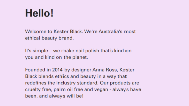 Now-deleted comments on the Kester Black 'about' page claiming its products were palm oil free.