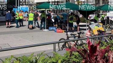 The scene at Starbucks in Broadbeach.