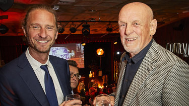 Justin Hemmes and Leon Fink at the annual Gourmet Traveller Restaurant Awards at Hubert on Wednesday.